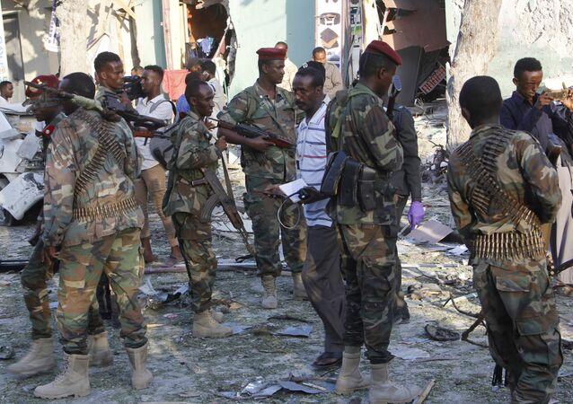 Des soldlats somaliens à Mogadiscio