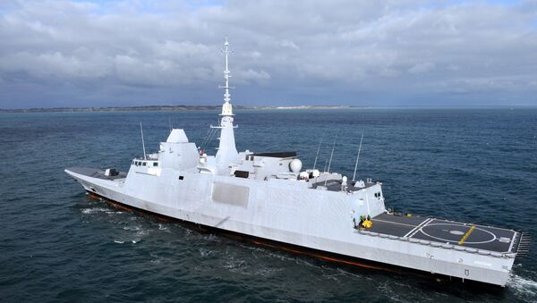 An aerial view taken on November 27, 2012 shows the new Italo-French FREMM multipurpose frigate Aquitaine off the coast of Lorient, western France. - Sputnik France