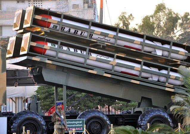 Le système de missiles Babur. Photo d'archive