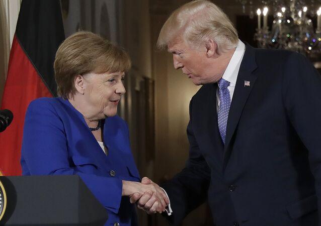 Le Président Trump et la chancelière Merkel le 27 avril 2018