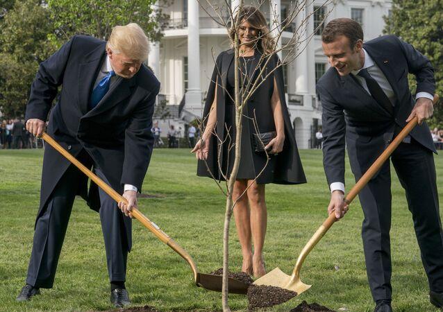 Melania Trump, Donald Trump  et Emmanuel Macron
