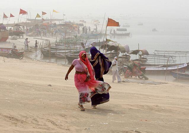Une tempête de sable en Inde