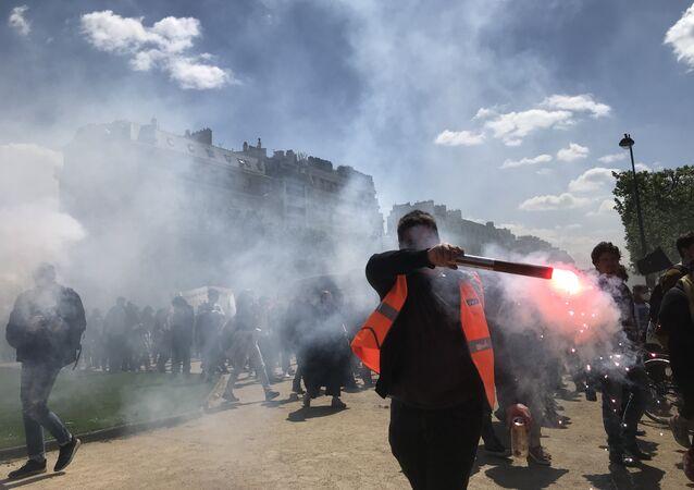Manifestation de l'éducation nationale et des étudiants au côté des cheminots, 3 mai 2018