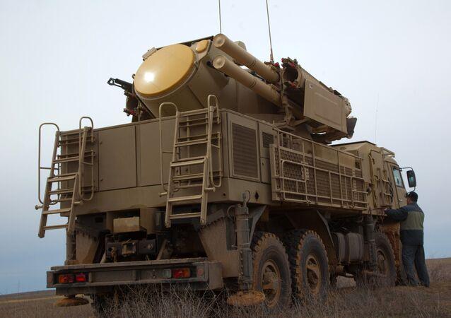 Un véhicule de défense antiaérienne Pantsir-S. Photo d'archive