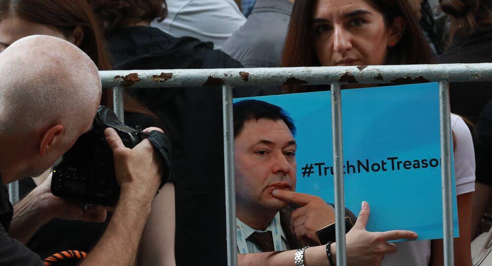 Manif de soutien au journaliste Vychinski près de l'ambassade d'Ukraine à Moscou