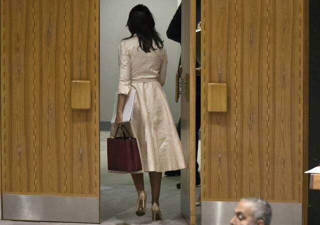 L'ambassadrice américaine de l'Onu, Nikki Haley, quitte la salle du Conseil de sécurité lors de l'intervention de son homologue palestinien