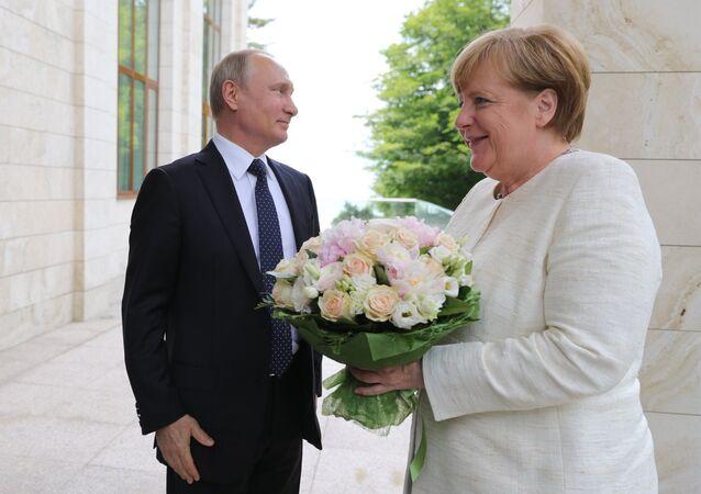 Vladimir Poutine et Angela Merkel à Sotchi