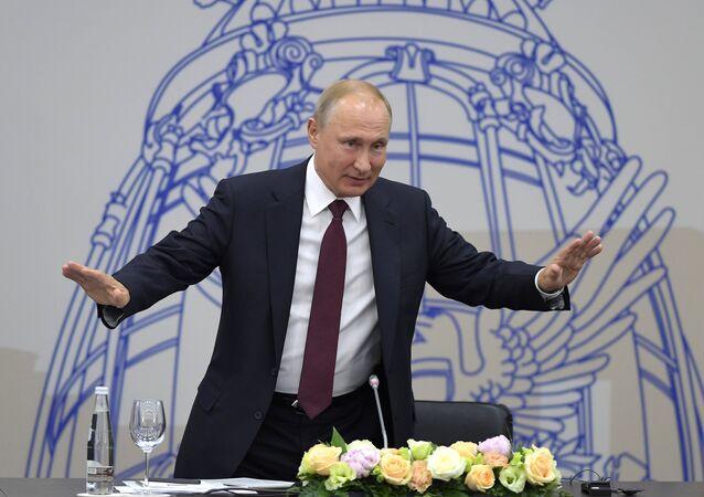 Vladimir Poutine lors du SPIEF 2018