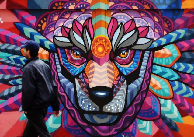 Un graffiti de Farid Rueda à Moscou