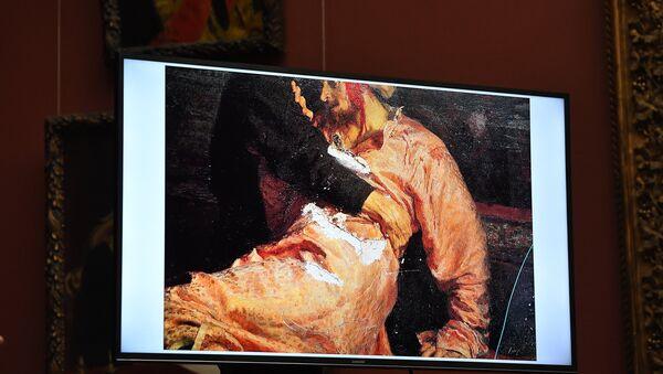 Le tableau Ivan le Terrible et son fils Ivan le 16 novembre 1581 endommagé par un vandale en 2018 - Sputnik France