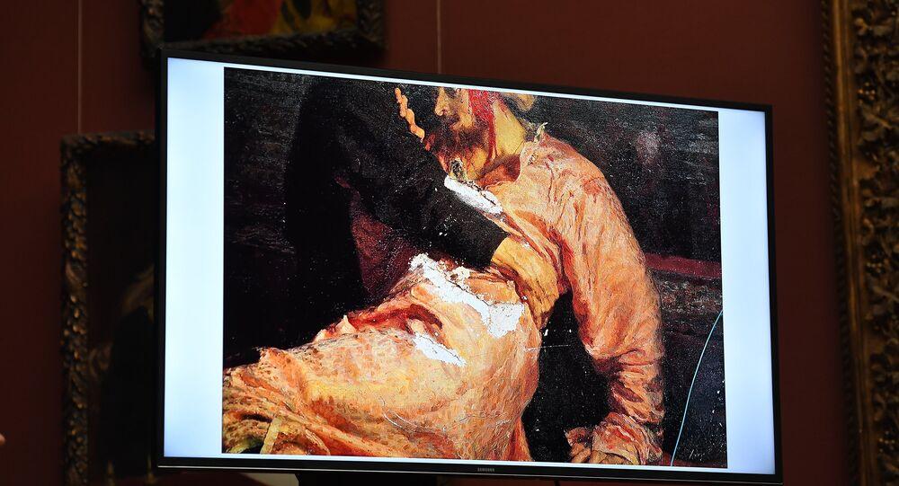 Le tableau Ivan le Terrible et son fils Ivan le 16 novembre 1581 endommagé par un vandale en 2018
