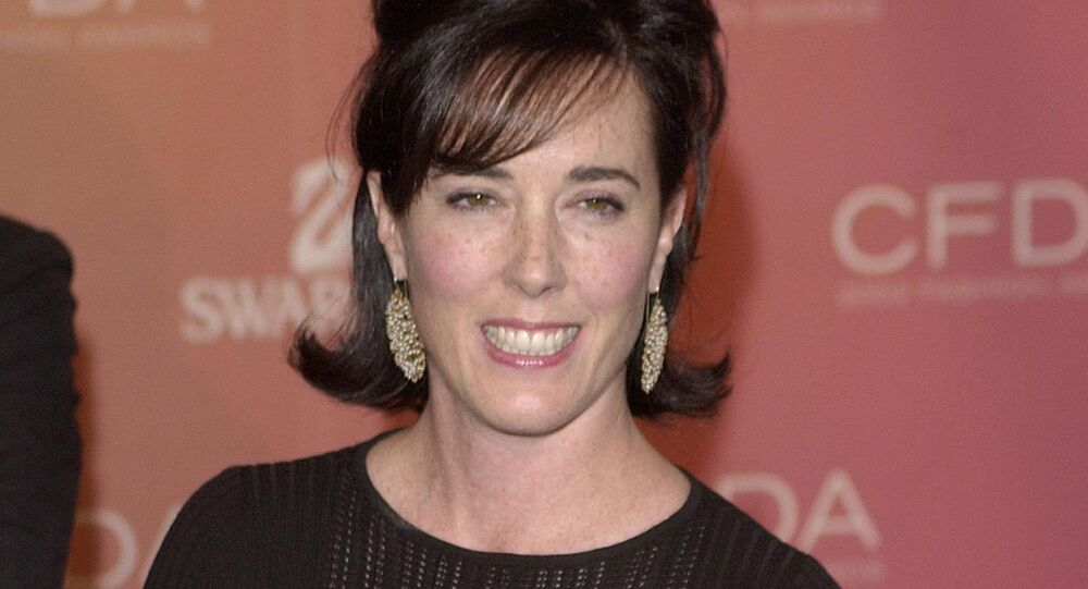 Kate Spade arrives at the Council of Fashion Designers of America awards in New York on June 2, 2003, at the New York Public Library