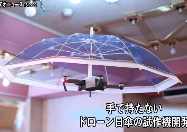 アサヒパワーサービス、手で持たない ドローン日傘の試作機開発