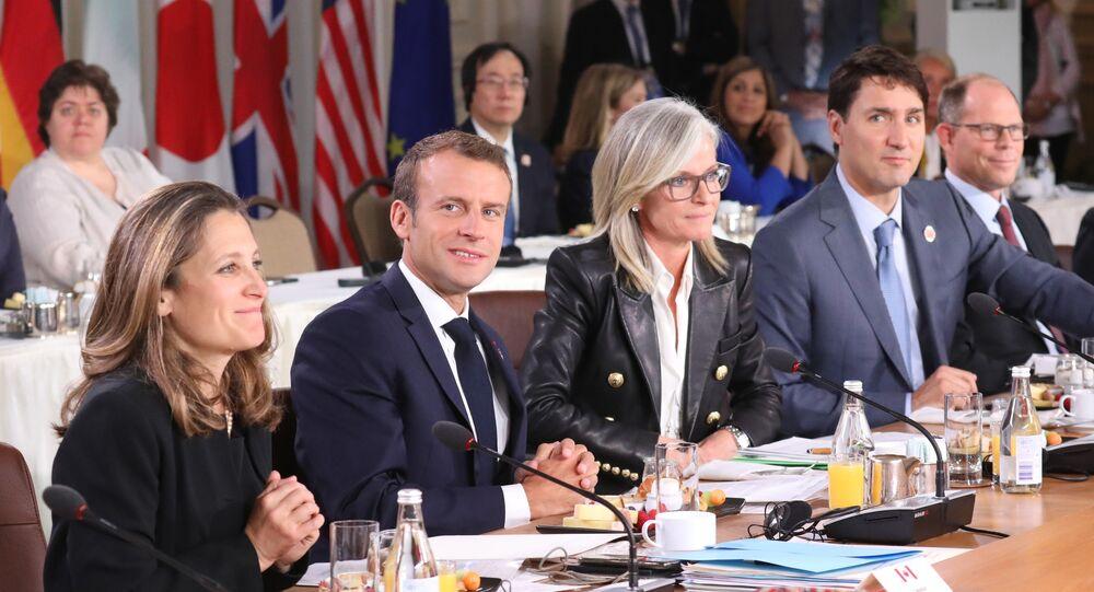 Chrystia Freeland, Emmanuel Macron, Isabelle Hudon, Justin Trudeau et Mark Suzman