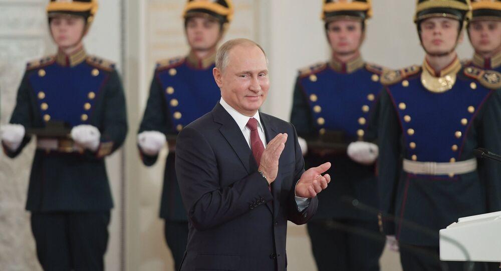 Vladimir Poutine lors de la cérémonie de remise des Prix d'État