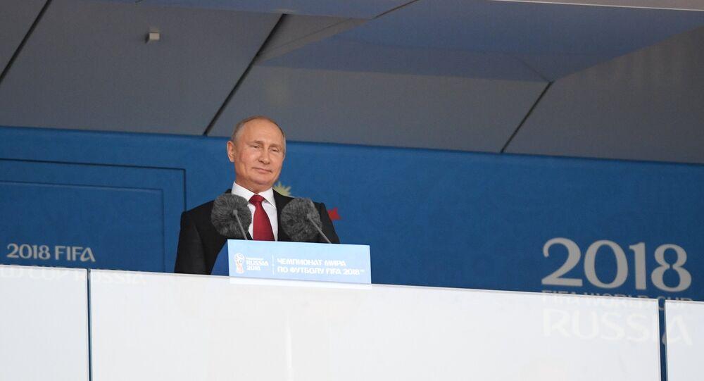 Vladimir Poutine à la cérémonie d'ouverture du Mondial 2018