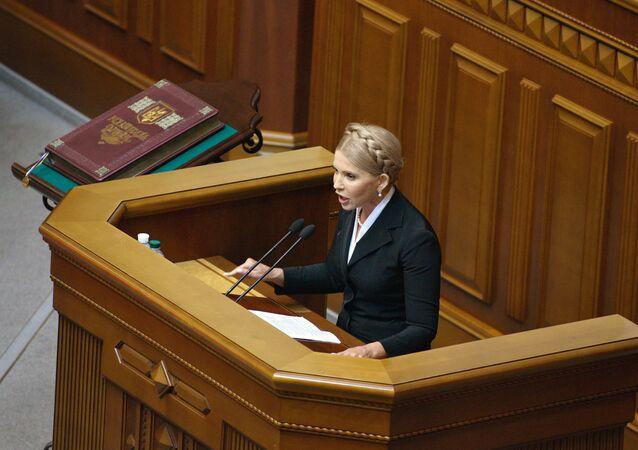 Ioulia Timochenko lors d'une séance de la Rada ukrainienne