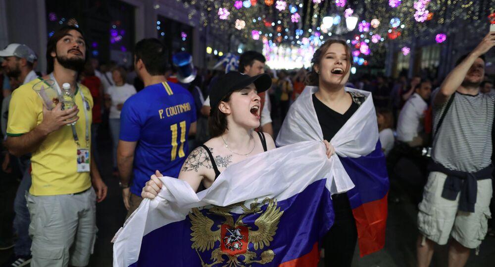 Rue Nikolskaïa, point de rendez-vous des supporters du Mondial 2018 à Moscou. Image d'illustration