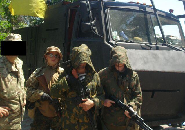La base du bataillon Azov près de Marioupol