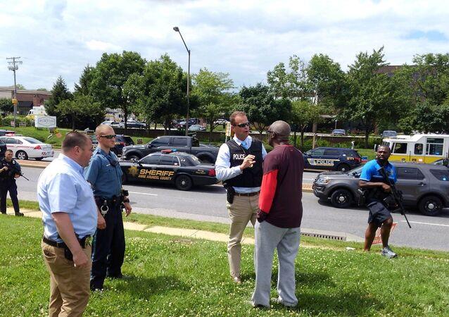 Le lieu de la fusillade survenue le 28 juin dans une rédaction du quotidien américain Capital Gazette, dans le Maryland
