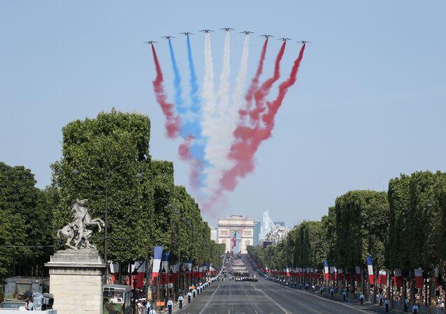 Lors du défilé militaire du 14 juillet à Paris