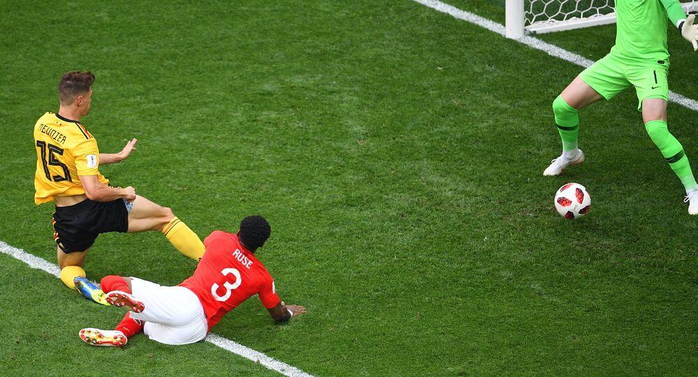 Match Belgique-Angleterre sur la pelouse du stade de Saint-Pétersbourg, le 14 juillet