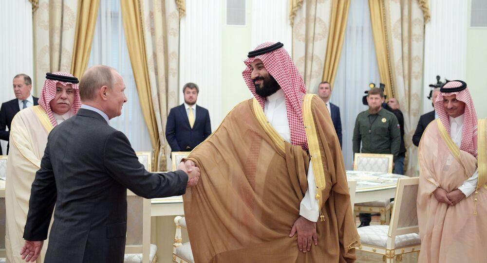 Le prince héritier d'Arabie saoudite Mohammed ben Salmane al-Saoud et Vladimir Poutine