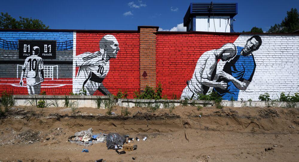 Un graffiti à Samara représentant  Zinedine Zidane et Marco Materazzi, lors de la finale de la Coupe du monde 2006.
