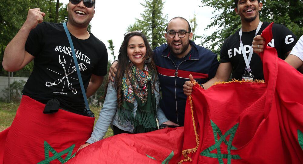 Des supporters marocains de l'équipe d'Algérie de football
