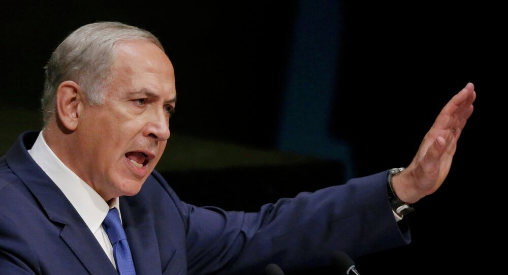 Israeli Prime Minister Benjamin Netanyahu addresses attendees during the 70th session of the United Nations General Assembly at the U.N. Headquarters in New York, October 1, 2015