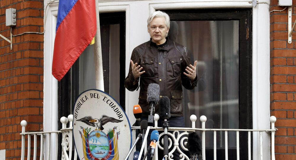 WikiLeaks founder Julian Assange gestures as he speaks on the balcony of the Ecuadorian embassy, in London, Friday May 19, 2017.