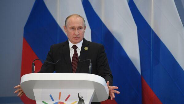 Vladimir Poutine à la conférence de presse à l'issue du sommet des BRICS à Johannesburg, le 27 juillet 2018 - Sputnik France