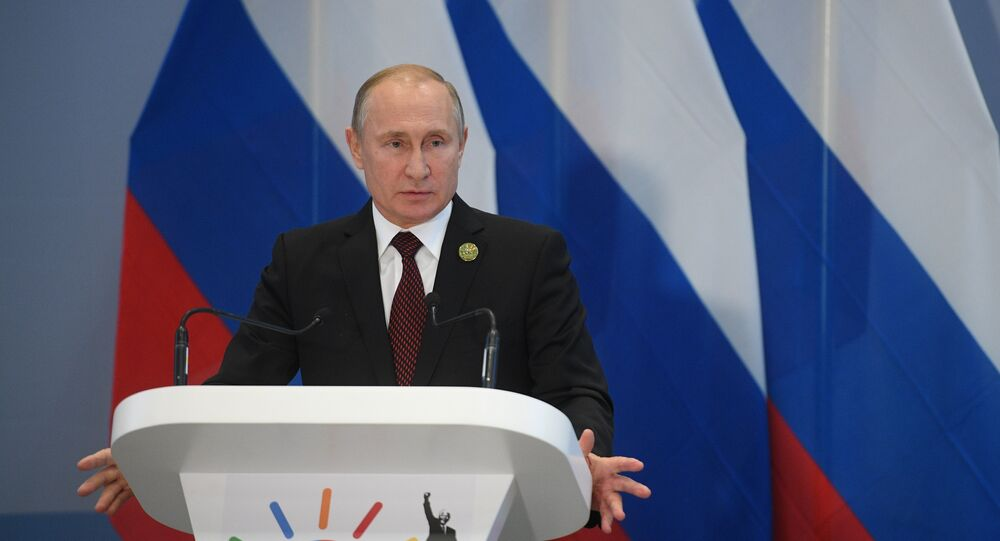 Vladimir Poutine à la conférence de presse à l'issue du sommet des BRICS à Johannesburg, le 27 juillet 2018