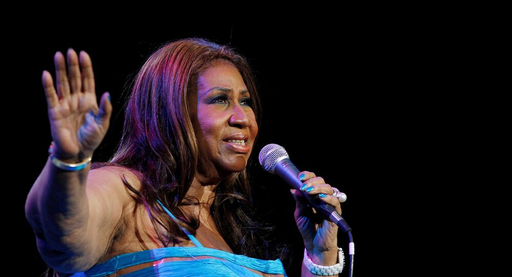 Singer Aretha Franklin performs at Radio City Music Hall in New York in this February 17, 2012