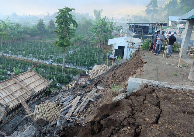 Les dégâts causés par un séisme à Lombok, en Indonésie