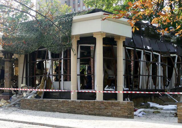 Le site du meurtre du chef de la République populaire autoproclamée de Donetsk (RPD), Alexandre Zakhartchenko