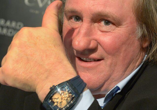 Gérard Depardieu lors de la présentation de sa collection de montres «Je suis fier d'être russe», créé conjointement avec la marque horlogère Cvstos, au Four Seasons Hotel à Moscou.