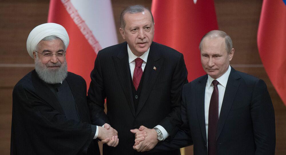 Hassan Rohani, Recep Tayyip Erdogan et Vladimir Poutine
