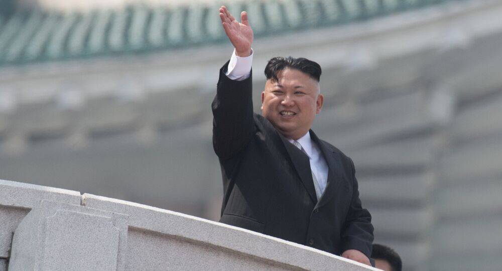 North Korean leader Kim Jong-un during a military parade marking the 105th birthday of Kim Il-Sung, the founder of North Korea, in Pyongyang