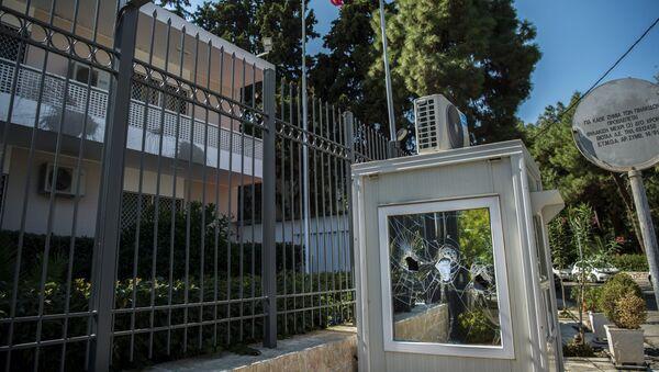 Фасад посольства Ирана в Афинах со следами от пуль, Греция - Sputnik France