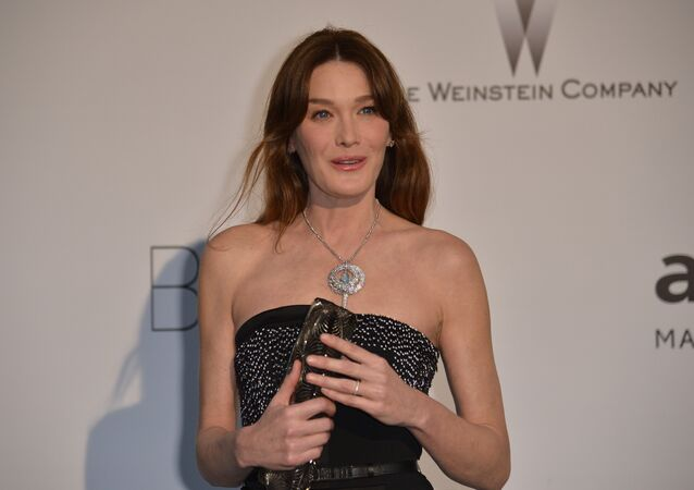 Italian singer and model Carla Bruni-Sarkozy poses as she arrives for the amfAR 21st Annual Cinema Against AIDS during the 67th Cannes Film Festival at Hotel du Cap-Eden-Roc in Cap d'Antibes, southern France. (File)