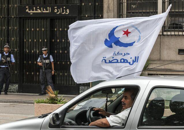 Le drapeau du parti islamiste Ennahda. Photo d'archive