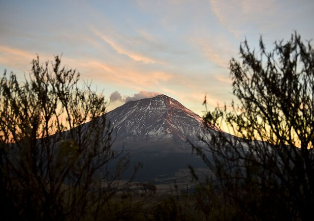 A cloud of ash and smoke spewed by the Popocatepetl Volcano photographed from the Izta-Popo National Park, in the central Mexican state of Puebla, on January 31, 2016.