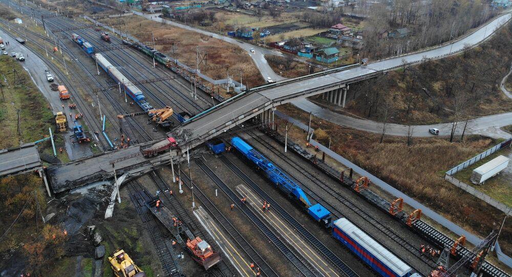 Effondrement d'un pont routier dans la région de l'Amour