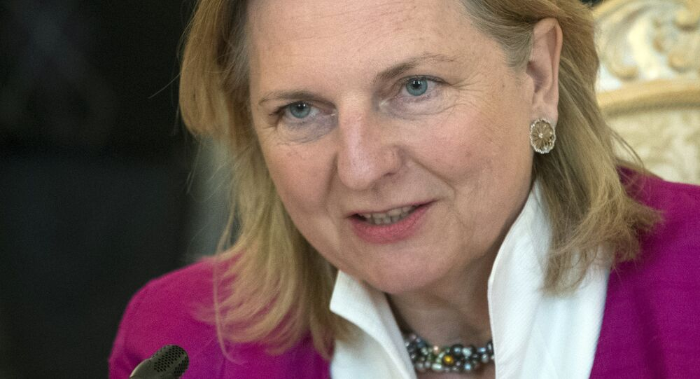 Austrian Foreign Minister Karin Kneissl speaks during her meeting with Russian Foreign Minister Sergey Lavrov in Moscow, Russia, Friday, April 20, 2018.
