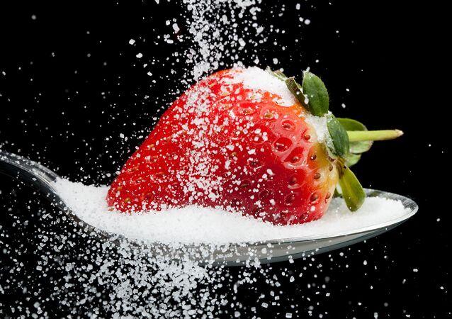 Une fraise en sucre (image d'illustration)