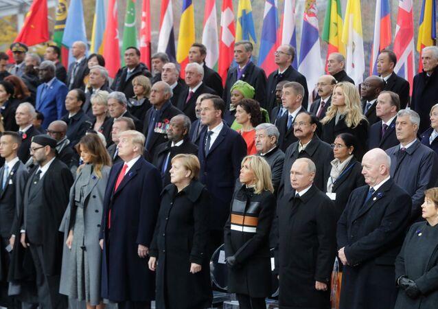Vladimir Poutine participe à la commémoration de l'armistice à Paris (11 novembre 2018)