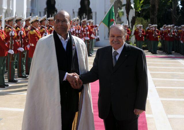 Le Président Abdelaziz Bouteflika et l'ancien Président tunisien Moncef Marzouki le 12 février 2012 à Alger