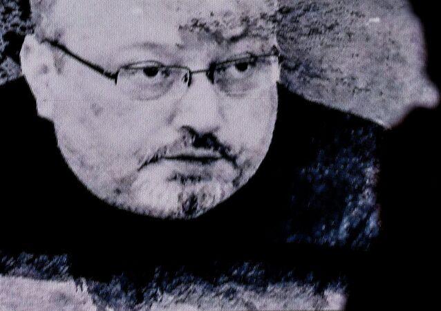 Portrait de Jamal Khashoggi sur un écran