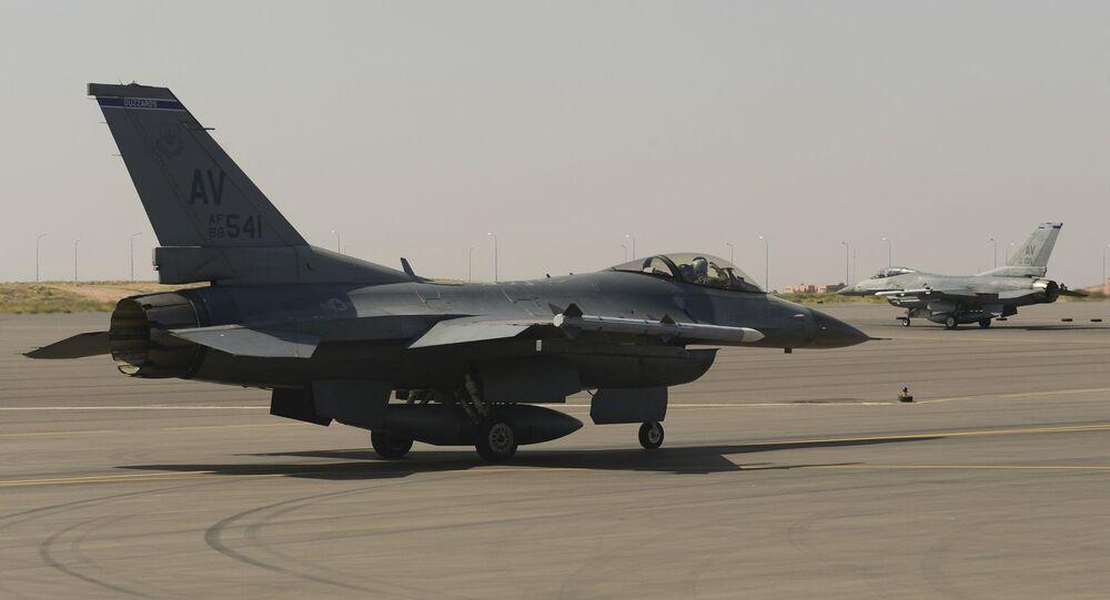 Un chasseur F-16 de la force aérienne du Maroc